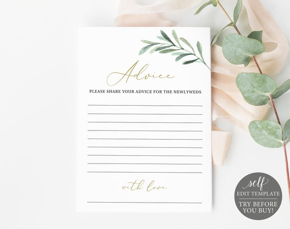 Advice Card Template, FREE Demo Available, Editable Instant Download, Greenery Olive Leaves