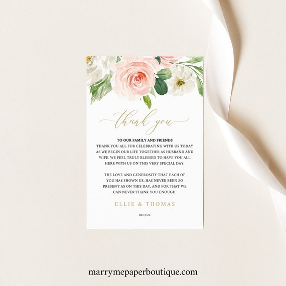 Wedding Thank You Note Template, Blush Pink Floral, Printable Thank You Letter, Note Card, Editable, Templett INSTANT Download
