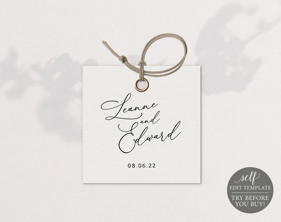 Square Tag Template, Minimalist, 2x2, Editable & Printable, Instant Download, Try Before You Buy