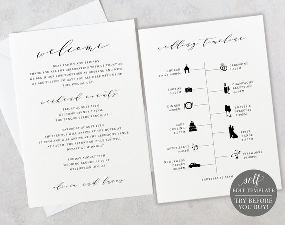 Wedding Itinerary Welcome Card Template, Elegant, TRY BEFORE You BUY, 100% Editable Instant Download