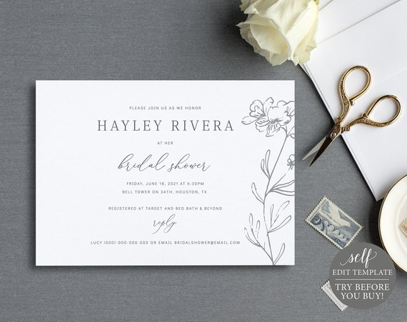 Bridal Shower Invitation Template, TRY BEFORE You BUY, 100% Editable Instant Download, Elegant Floral