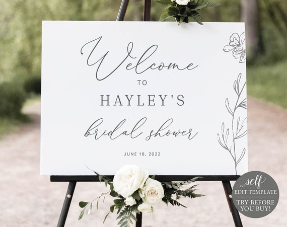 Bridal Shower Welcome Sign Template, Editable & Printable Instant Download, Templett, TRY BEFORE You Buy, Elegant Botanical