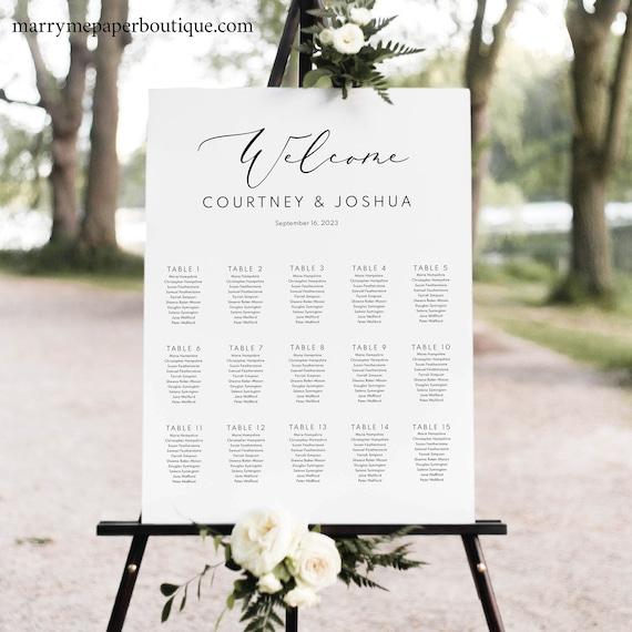 Seating Chart Template, Elegant Script, Templett, Editable & Printable Instant Download