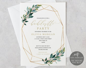 Bachelorette Party Invitation Template, Editable Instant Download, Greenery Geometric, TRY BEFORE You BUY