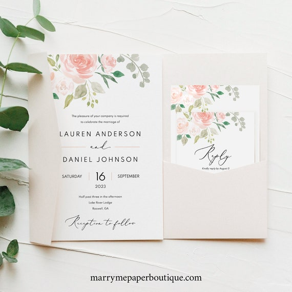 Wedding Invitation Template Set, Blush Floral, Pocket Style, Instant Download, Editable & Printable, Try Before You Buy