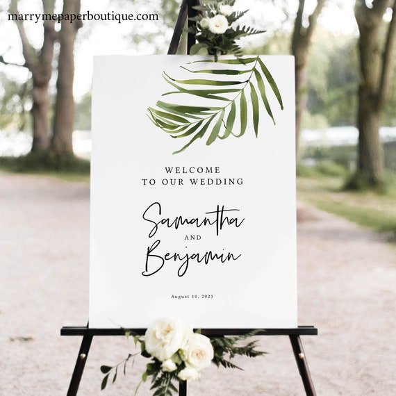 Tropical Wedding Welcome Sign Template, Beach Wedding Sign Printable, Templett Editable, Greenery, Instant Download