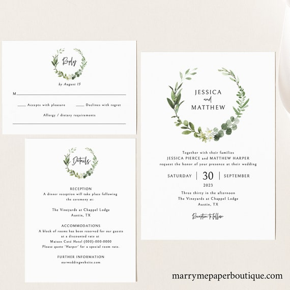 Elegant Greenery Wedding Invitation Template Set, Editable & Printable, Templett Instant Download, Try Before Purchase
