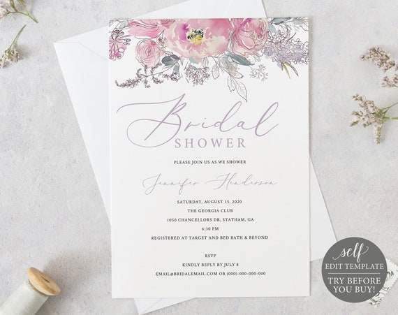 Bridal Shower Invite Template, TRY BEFORE You BUY, 100% Editable Instant Download, Pink & Lilac Floral