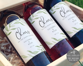 Wine Bottle Label Template, TRY BEFORE You BUY, Editable Instant Download, Greenery Leaves