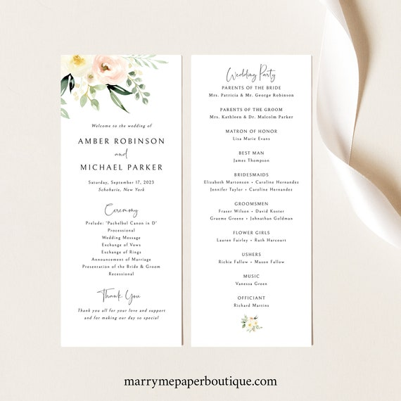 Wedding Program Template, Pink Floral, Greenery, Ivory, Wedding Program Printable, Editable, Templett, INSTANT Download