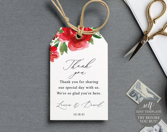 Favor Tag Template, Red Floral, Editable Instant Download, Free Demo Available
