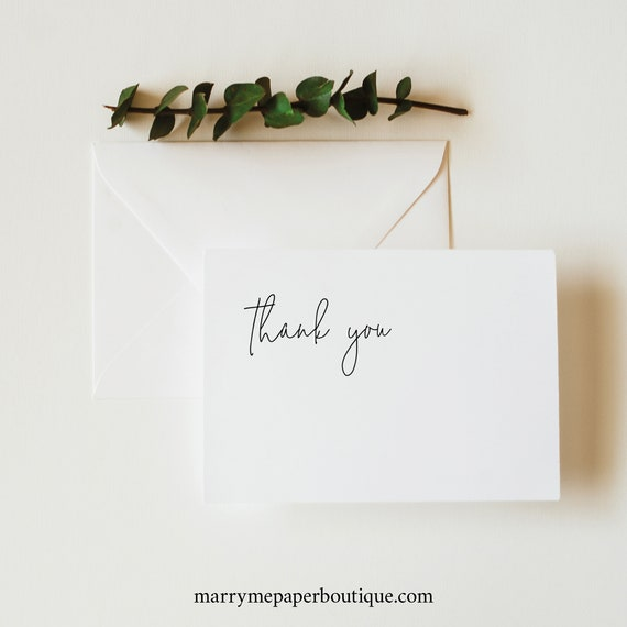 Thank You Card Template, Folded, Minimalist Elegant, Try Before Purchase, Editable & Printable Instant Download