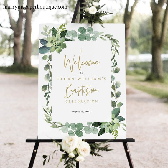Baptism Welcome Sign Template, Lush Greenery, Printable Baptism Sign, Templett Editable, INSTANT Download