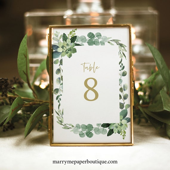 Table Number Sign Template, Table Number Card, Printable, Lush Greenery, Editable, Templett, INSTANT Download