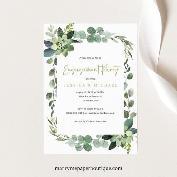 Engagement Party Invitation Template, Lush Greenery, Engagement Dinner Celebration Invite, Printable, Editable, Templett INSTANT Download