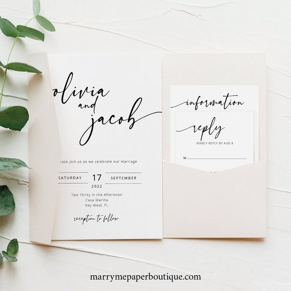 Wedding Invitation Template Set Pocketfold, Modern Calligraphy, Editable & Printable, Try Before You Buy, Instant Download