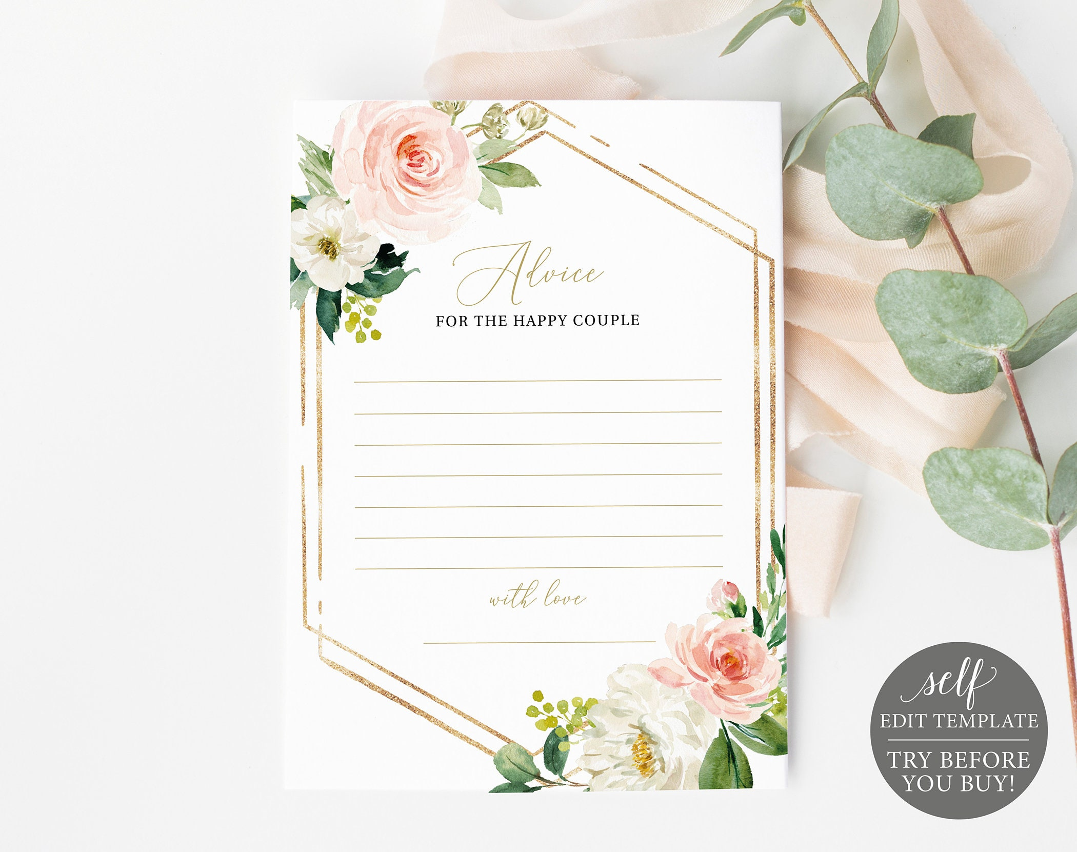 100/% Editable TRY BEFORE You BUY Advice Card Template Blush /& Gold Geometric Instant Download