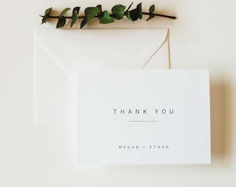 Minimalist Thank You Card Template, Modern Folded Thank You Card, Printable, Templett, Editable, Instant Download