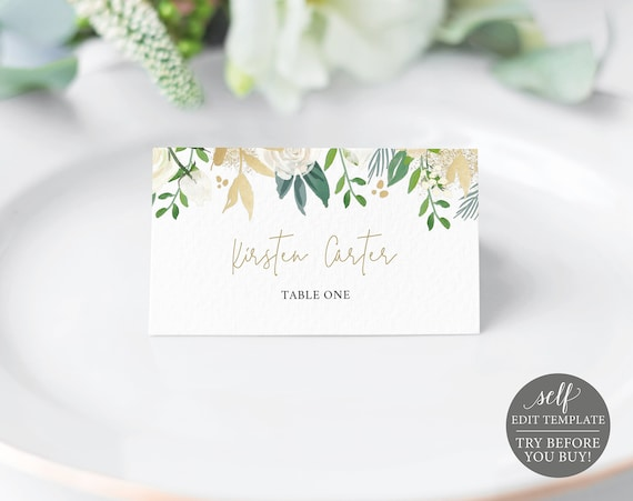 Place Card Template, White & Gold Floral, TRY BEFORE You BUY, 100% Editable Instant Download