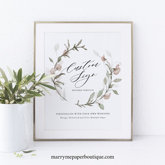 Wedding Sign Bundle Template, Blush Floral, Greenery, Printable Wedding Signs, Editable, Templett INSTANT Download