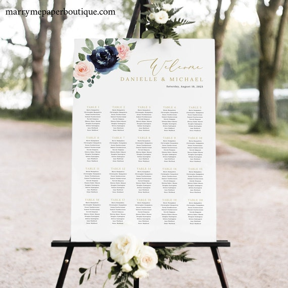 Wedding Seating Chart Template, Navy & Blush Floral, Seating Plan Poster Sign, Printable, Editable, Templett INSTANT Download, Vertical