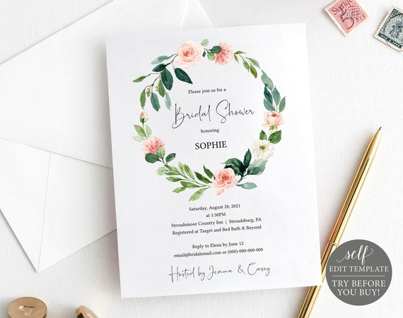 Bridal Shower Invitation Template, Blush Floral Greenery, TRY BEFORE You BUY, Self Edit Instant Download