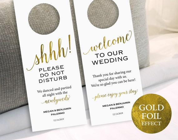 Gold Wedding Door Hanger, Please Do Not Disturb Door Hanger, Door Hanger Printable, Wedding Printable, PDF Instant Download, MM01-3