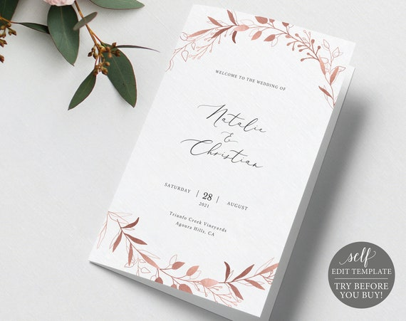 Program Template, Rose Gold Foliage Folded, Free Demo Available, Editable Instant Download