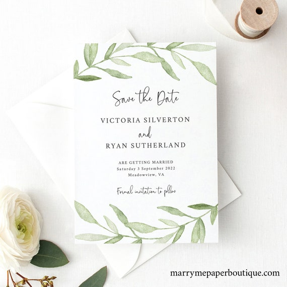 Save the Date Card Template, Greenery Leaves, Instant Download, Templett, Try Before Purchase, Editable & Printable