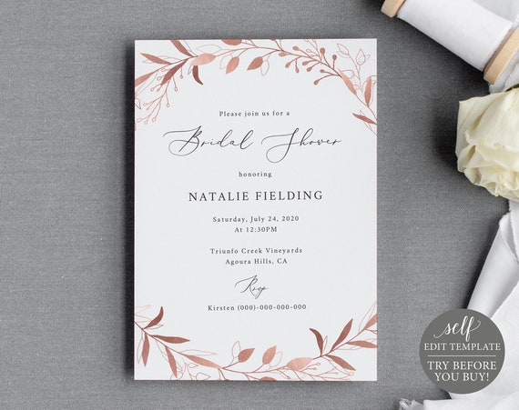 Bridal Shower Invite Template, TRY BEFORE You BUY, 100% Editable Instant Download, Rose Gold