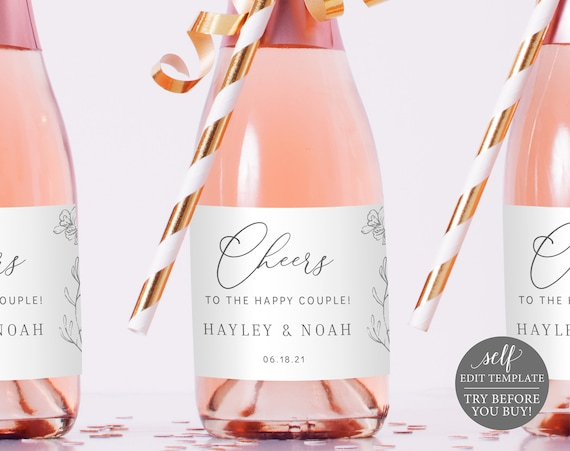 Mini Champagne Label Template, TRY BEFORE You BUY, Elegant Botanical, Editable Instant Download