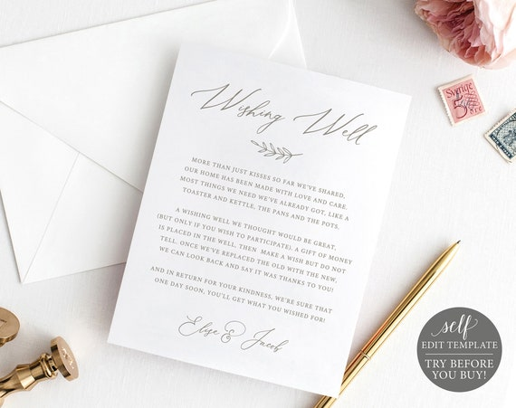 Wishing Well Card Template, Calligraphy, 100% Editable Instant Download, TRY BEFORE You BUY