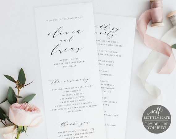 Wedding Program Template Try Before You Buy 100 Editable Etsy
