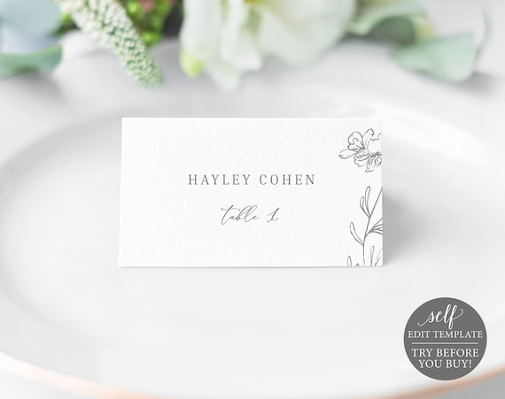 Place Card Template, TRY BEFORE You BUY, 100% Editable Instant Download, Elegant Botanical
