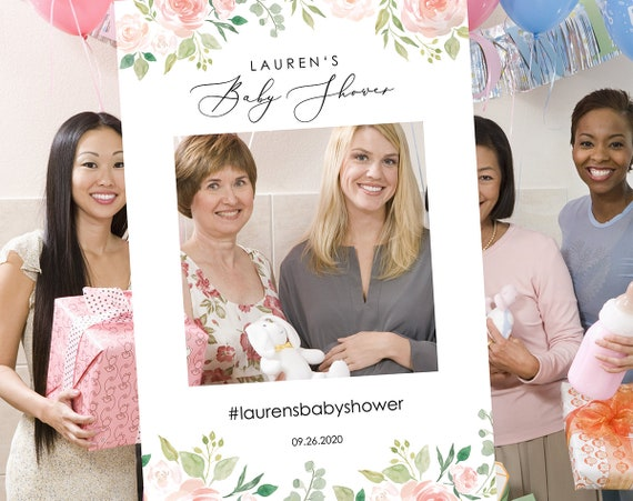 Floral Baby Shower Photo Booth Frame Template, Printable Photo Booth Prop Template, Baby Shower Selfie, PDF Instant Download, MM08-3