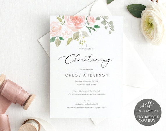Floral Christening Invitation Template, Printable Christening Invite, TRY BEFORE You BUY, Baptism Invite, 100% Editable, Instant Download