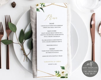 Wedding Menu Template, White Floral Geometric, Editable Instant Download, TRY BEFORE You BUY
