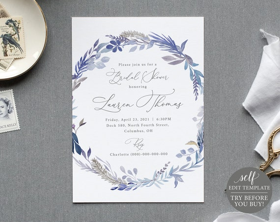 Bridal Shower Invitation Template, Lavender Blue, 100% Editable Instant Download, TRY BEFORE You BUY