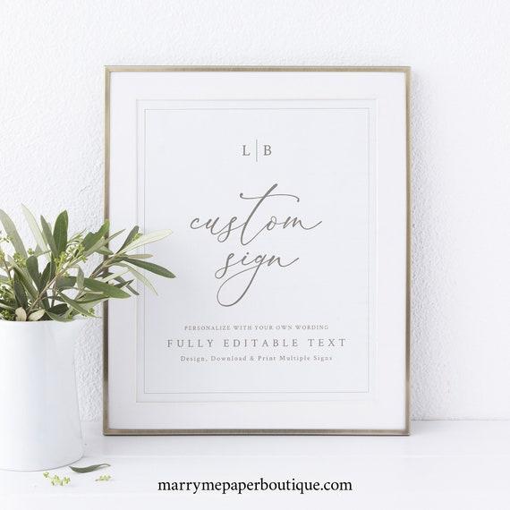 Wedding Sign Bundle Template, Monogram & Border, Elegant Wedding Signs, Printable, Templett INSTANT Download, Editable