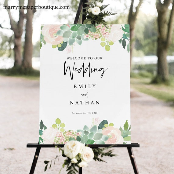 Succulent Floral Wedding Welcome Sign Template, Greenery Wedding Sign Printable, Templett, Editable, INSTANT Download