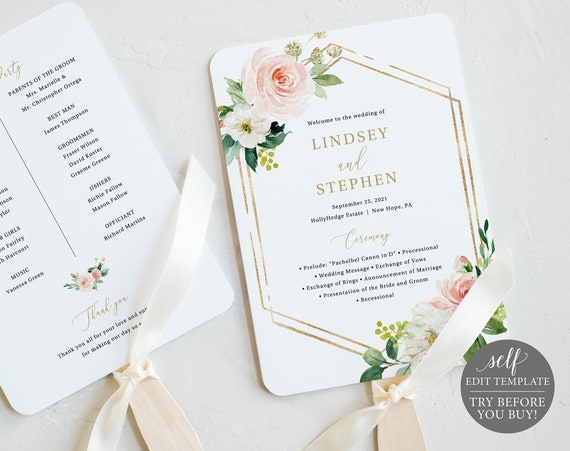 Wedding Program Fan Template, Editable Instant Download, Pink Floral Hexagonal, TRY BEFORE You BUY