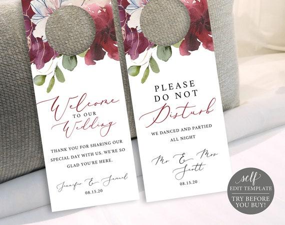 Door Hanger Template, Please Do Not Disturb Door Sign, 100% Editable Door Hanger Printable, Instant Download, Burgundy Floral