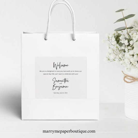 Minimalist Guest Welcome Bag Label Template, Modern Calligraphy, Wedding Gift Bag Label, Printable, Editable, Templett INSTANT Download