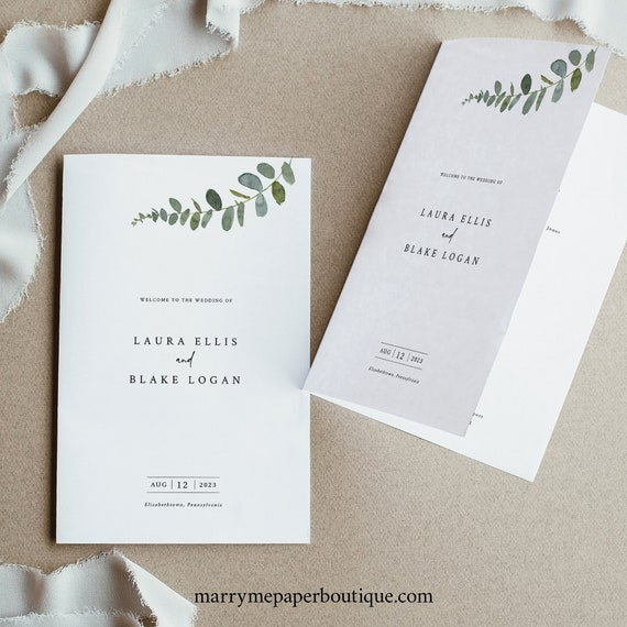 Greenery Wedding Program Template, Eucalyptus Folded Program Printable, Templett Editable, Instant Download, Try Before Purchase
