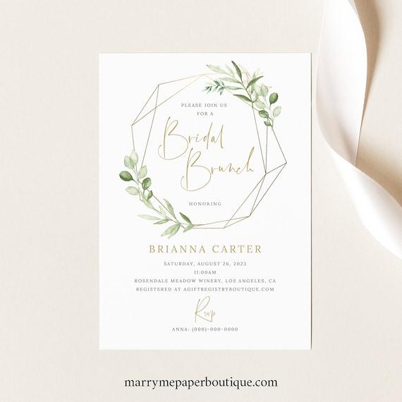 Bridal Brunch Invitation Template, Greenery Gold, Printable Bridal Shower Brunch Invite, Templett INSTANT Download, Editable