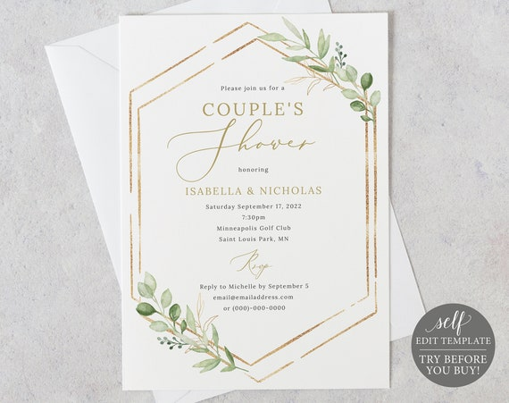 Couple's Shower Invitation Template, Greenery Hexagonal, Editable & Printable Instant Download, Templett, TRY BEFORE You Buy