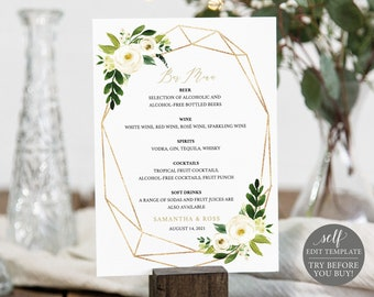 Bar Menu Template, White Floral Geometric, Editable Instant Download, TRY BEFORE You BUY