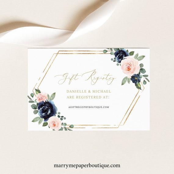 Wedding Registry Card Template, Navy & Blush Floral, Editable Gift Registry Enclosure Card, Printable, Templett INSTANT Download