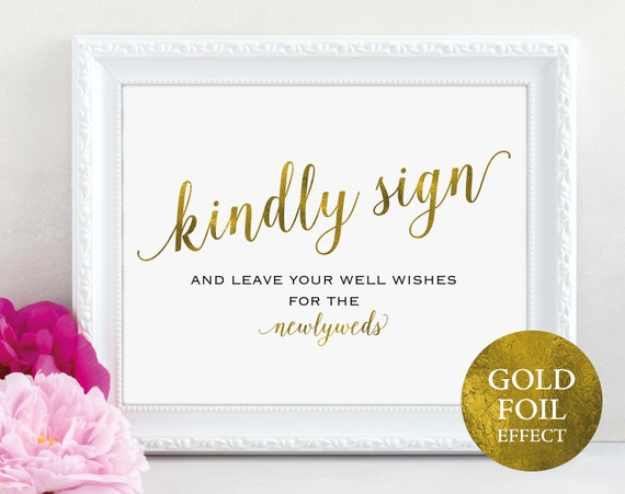 Gold Guest Book Sign, Please Sign our Guest Book, Guest Book Printable, Kindly Sign, Wedding Printable, DIY, PDF Instant Download, MM01-3