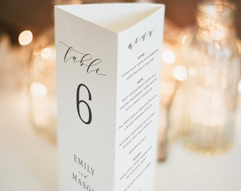 Wedding Table Number Template, Trifold, Formal & Elegant, Wedding Menu Template, Printable, Fully Editable, Templett INSTANT Download